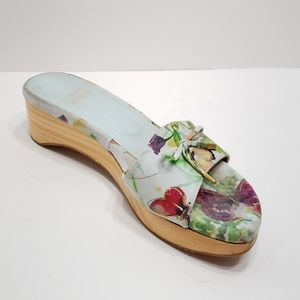 Stuart Weitzman Suede Floral Print Slide Sandal